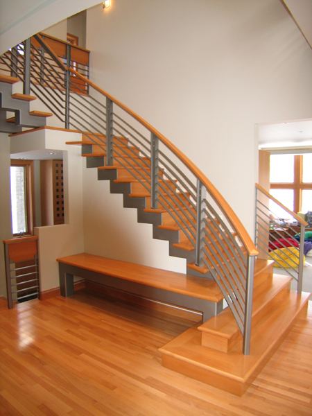Bridgman Residence - Floating stair with bench detail