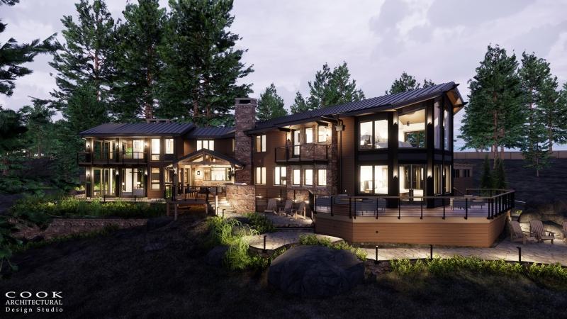 Pine Residence Main Lodge Exterior Dusk Rendering