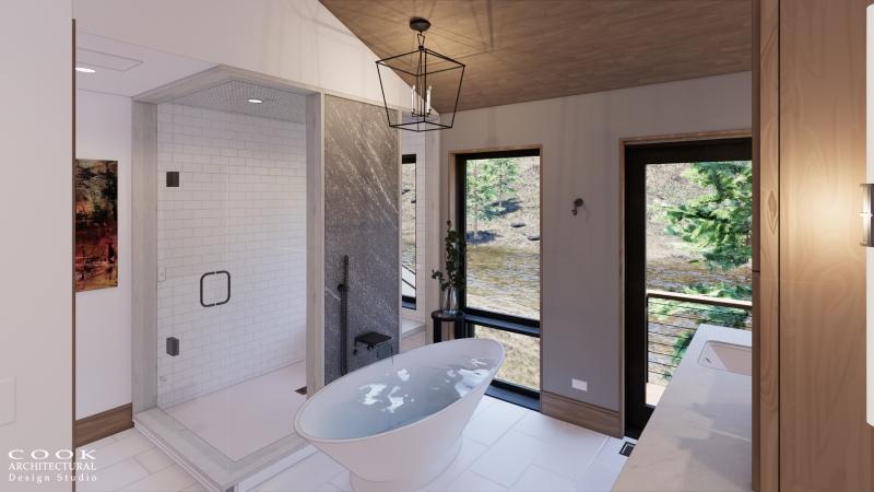 Pine Residence Main Lodge Master Bath Rendering