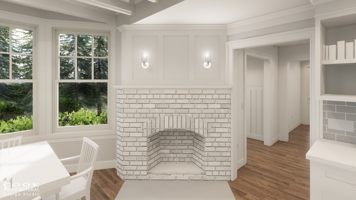 Spruce Residence_Kitchen Fireplace Rendering