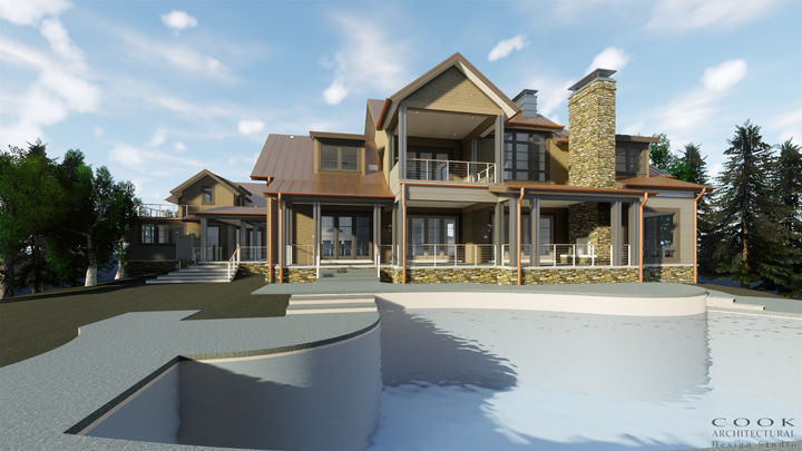 Lake Lanier, Georgia_Rear Exterior Rendering