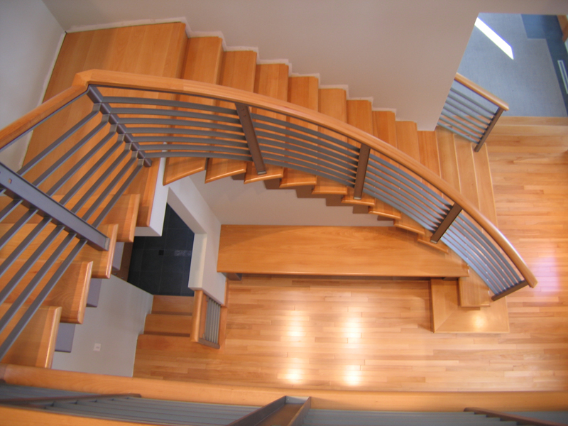 Bridgman Residence - Curved stairs from above